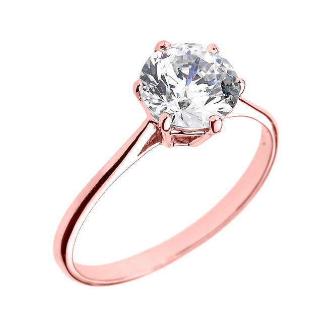 Rose Gold 6 Prongs 2.80 ct Round CZ Dainty Solitaire Engagement Ring