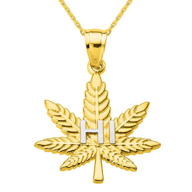 "Yellow Gold Marijuana Cannabis Leaf ""HI"" Script Pendant Necklace"