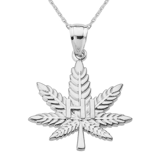 "White Gold Marijuana Cannabis Leaf ""HI"" Script Pendant Necklace"