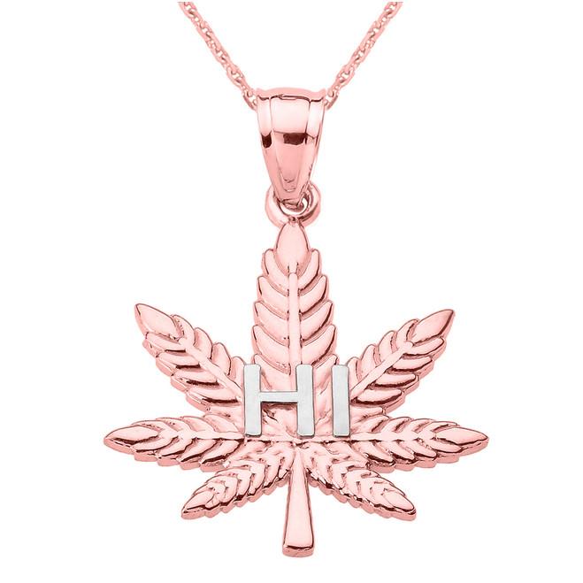 "Rose Gold Marijuana Cannabis Leaf ""HI"" Script Pendant Necklace"