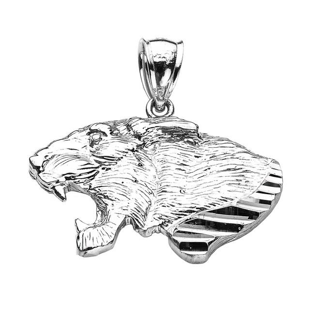 White Gold Diamond Cut Roaring Lion Head Pendant
