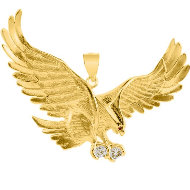 Gold Large Eagle CZ Pendant
