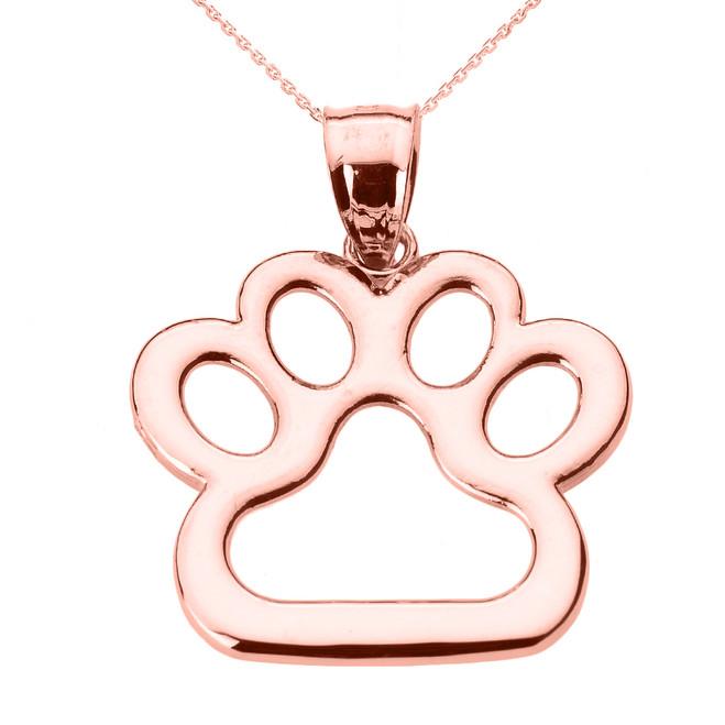 Rose Gold Dog Paw Print Pendant Necklace