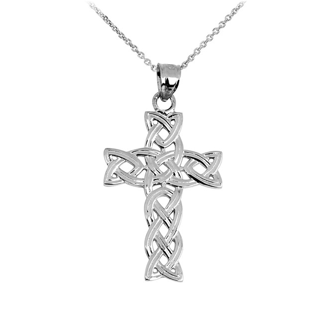 White Gold Irish Trinity Cross Pendant Necklace