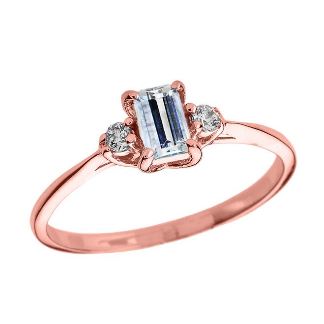 Rose Gold Diamond and Aquamarine Proposal and Birthstone Ring