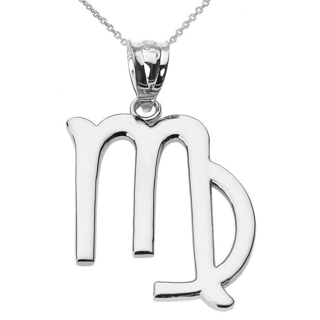 White Gold Virgo September Zodiac Sign Pendant Necklace