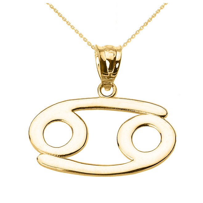 Yellow Gold Cancer July Zodiac Sign Pendant Necklace