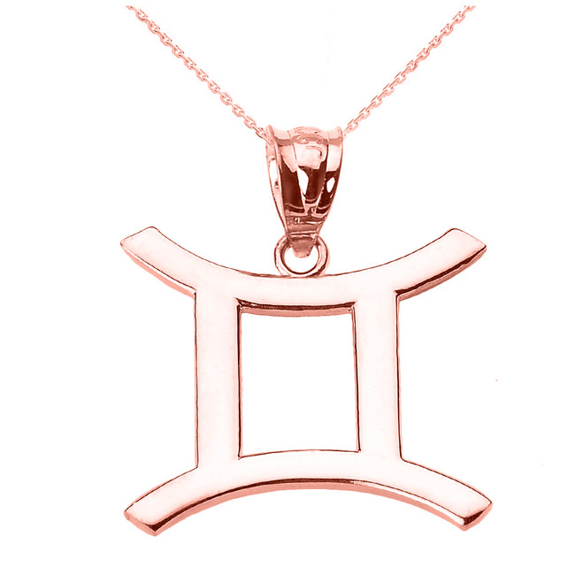 Rose Gold Gemini June Zodiac Sign Pendant Necklace