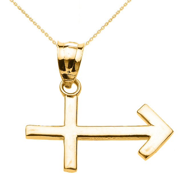 Yellow Gold Sagittarius December Zodiac Sign Pendant Necklace