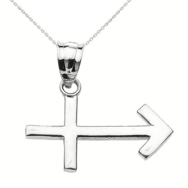 White Gold Sagittarius December Zodiac Sign Pendant Necklace