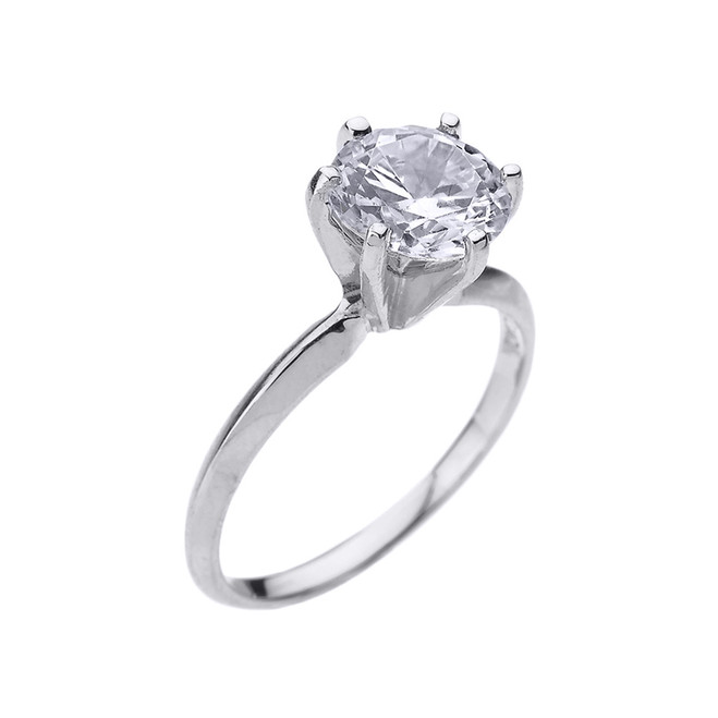 White Gold 3.0 ct Cubic Zirconia Solitaire Engagement Ring
