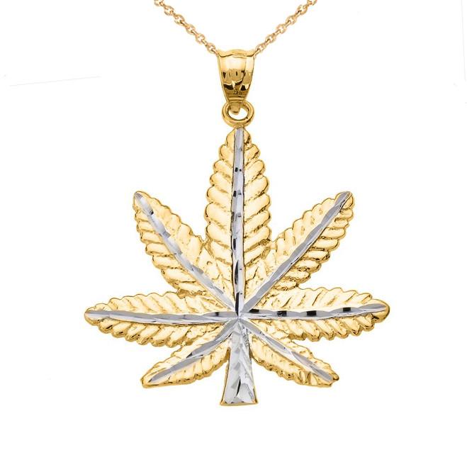 Yellow Gold Marijuana Leaf Cannabis Charm Pendant
