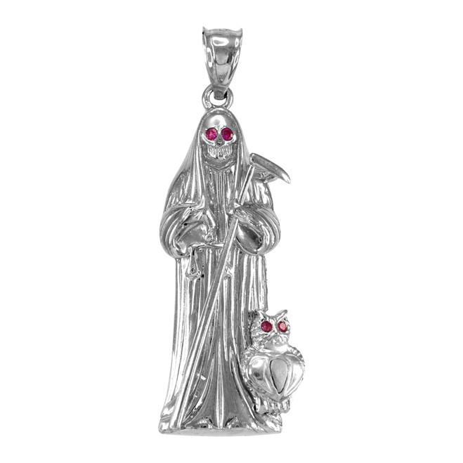 Sterling Silver Santa Muerte Red CZ Pendant