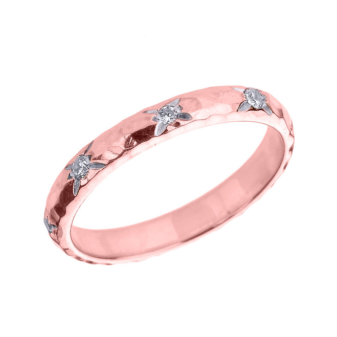 Rose Gold 3 mm Hammered Stackable Diamond Ring