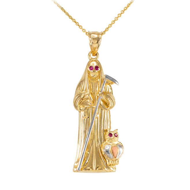 Three-tone Gold Santa Muerte Owl Red CZ Pendant Necklace