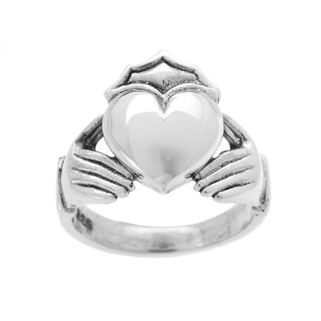 Bold Sterling Silver Large Men's Claddagh Ring