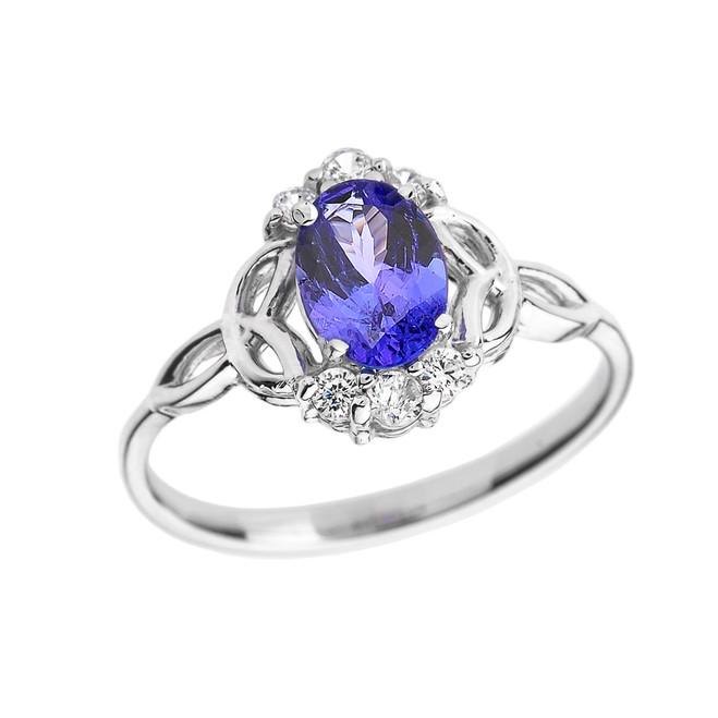 White Gold Tanzanite and Diamond Trinity Knot Proposal Ring