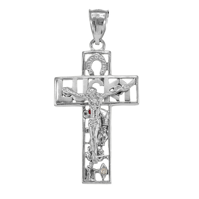 Sterling Silver LUCKY Crucifix CZ Pendant