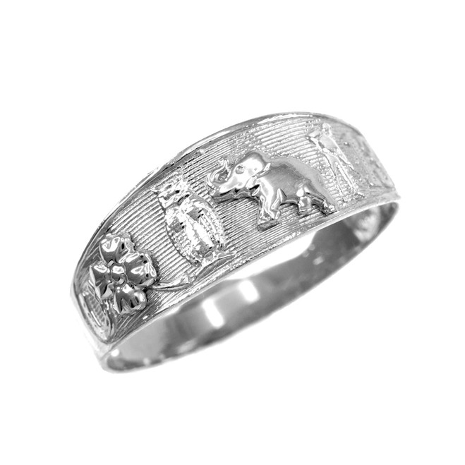 Solid White Gold Lucky Ring
