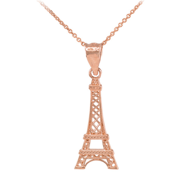 Rose Gold Eiffel Tower Pendant Necklace