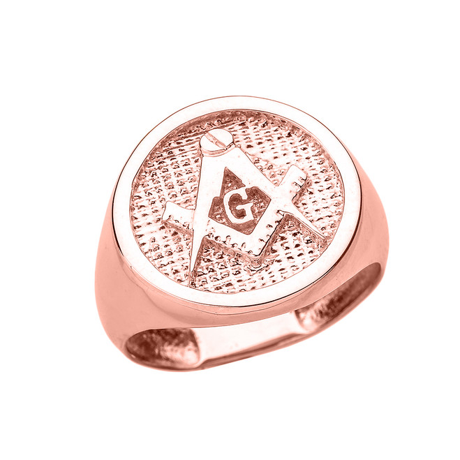 Solid Rose Gold Square and Compass Masonic Men's Ring