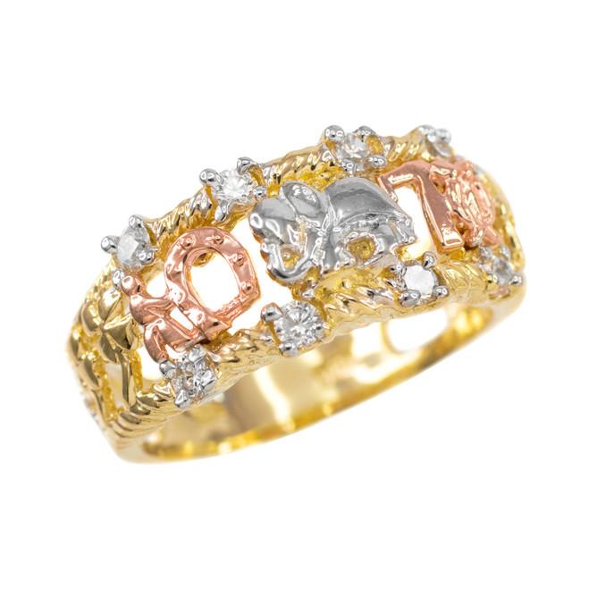 Thri-tone Gold Lucky CZ Ring