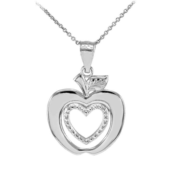 White Gold Apple Heart Fancy Pendant Necklace
