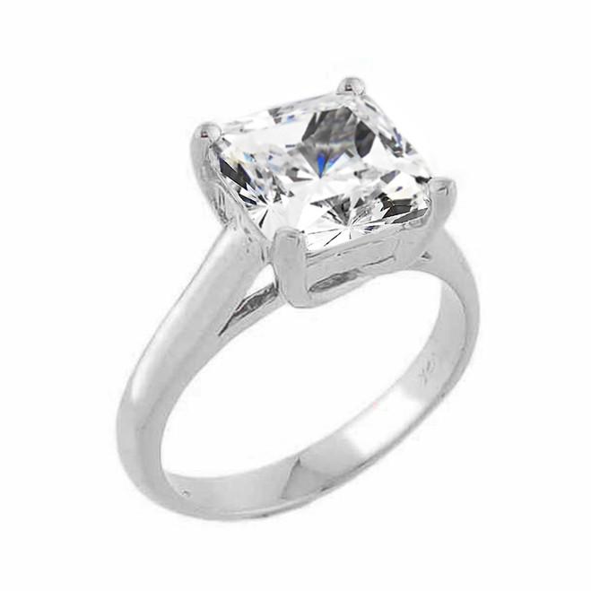 White Gold Princess Cut Cubic Zirconia Engagement Ring