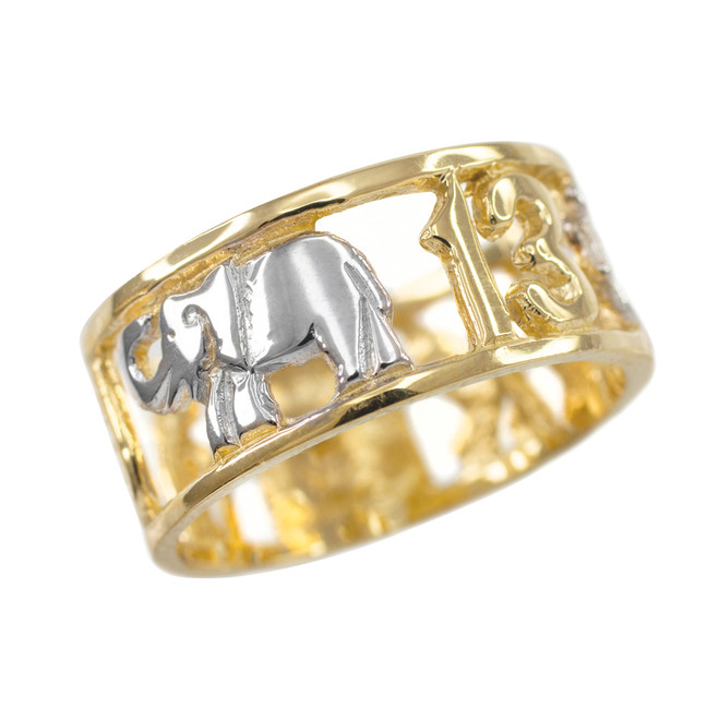 Two-tone Gold Lucky Ring
