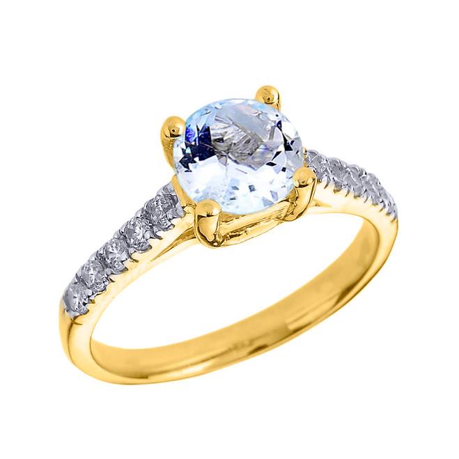 Yellow Gold Diamond and Aquamarine Solitaire Engagement Ring