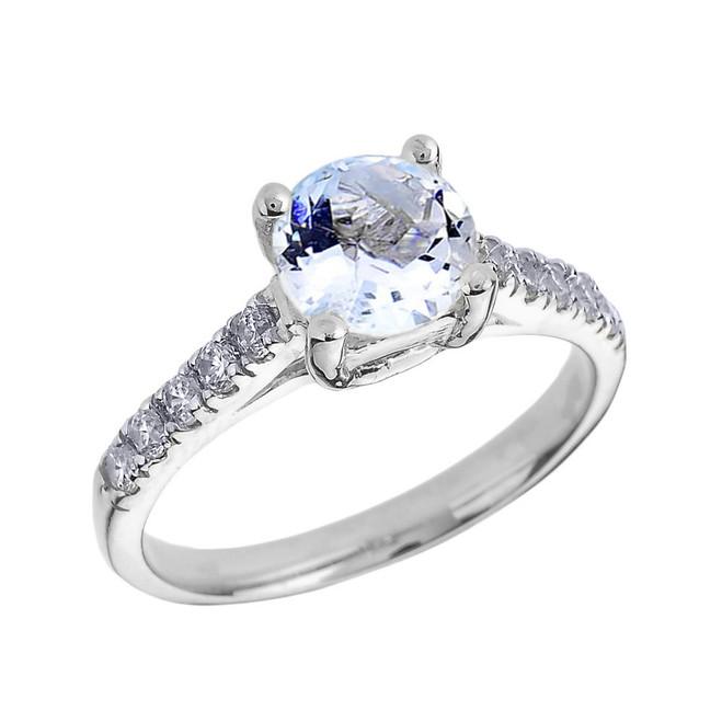 White Gold Diamond and Aquamarine Solitaire Engagement Ring