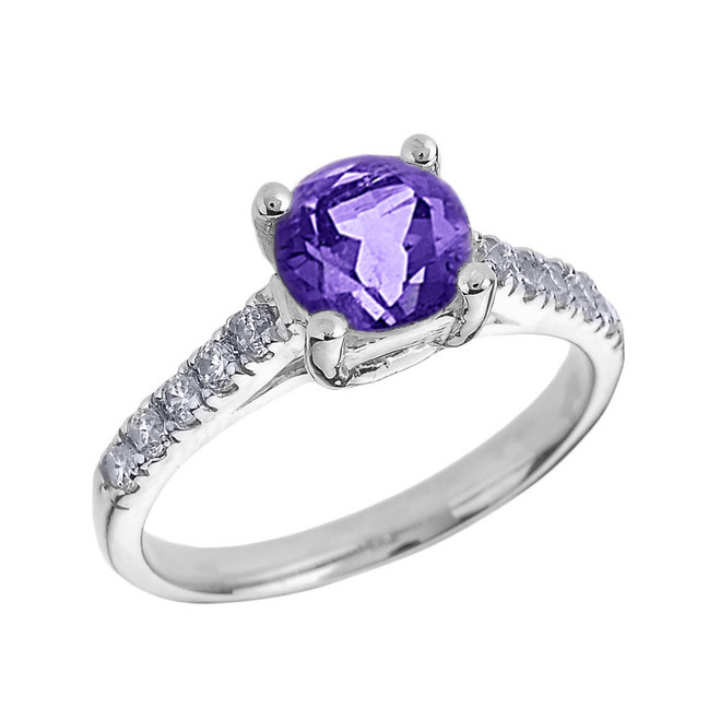 White Gold Diamond and Amethyst Solitaire Engagement Ring