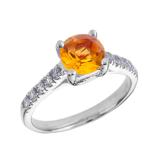 White Gold Diamond and Citrine Solitaire Engagement Ring
