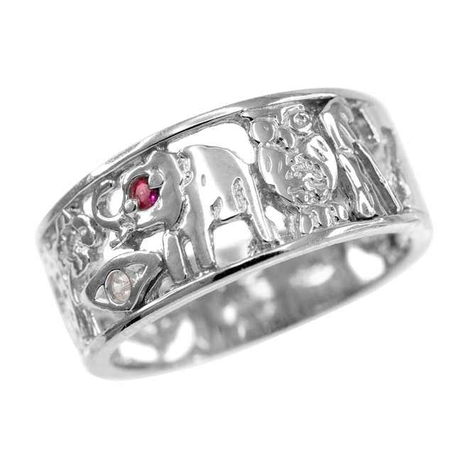 White Gold Red CZ Lucky Ring