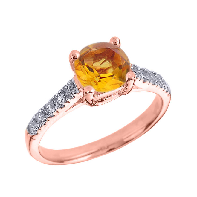 Rose Gold Diamond and Citrine Solitaire Engagement Ring