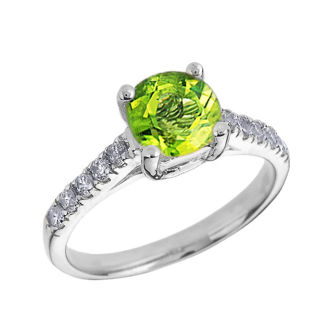 White Gold Diamond and Peridot Solitaire Engagement Ring