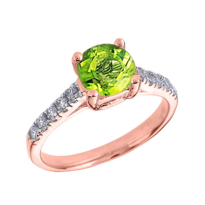 Rose Gold Diamond and Peridot Solitaire Engagement Ring