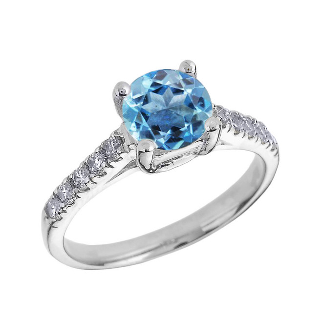 White Gold Diamond and Blue Topaz Solitaire Engagement Ring