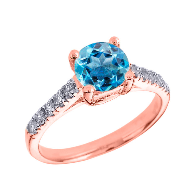 Rose Gold Diamond and Blue Topaz Solitaire Engagement Ring