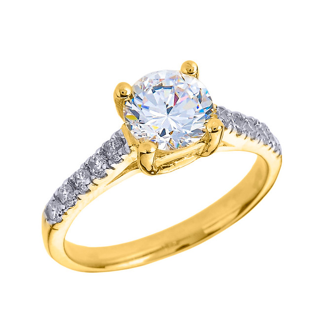 Yellow Gold Diamond and White Topaz Solitaire Engagement Ring