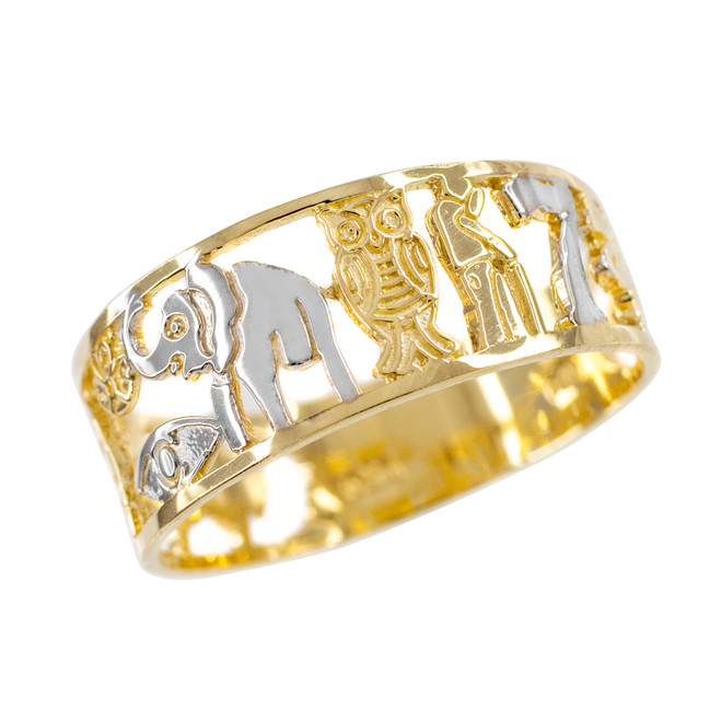 Two-tone Yellow Gold Lucky Ring