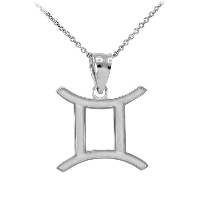 White Gold Gemini Zodiac Sign Pendant Necklace