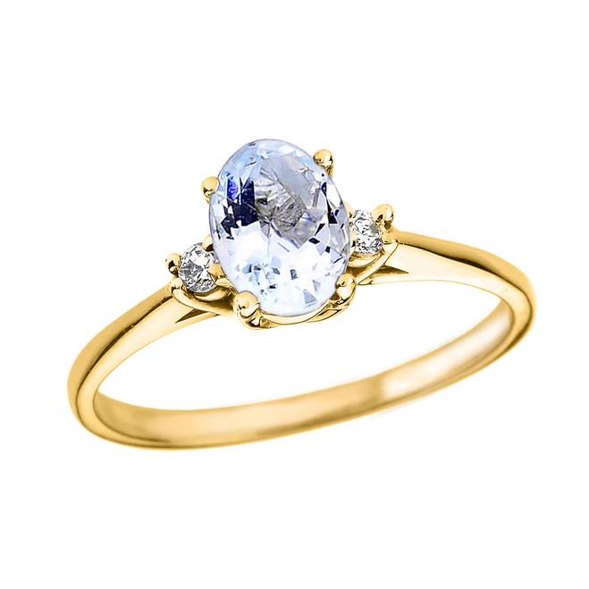 Yellow Gold Oval Aquamarine and Diamond Engagement Proposal Ring