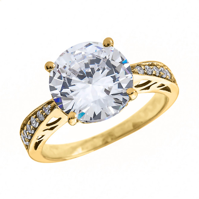 Yellow Gold 6.0 ct Cubic Zirconia Solitaire Engagement Ring