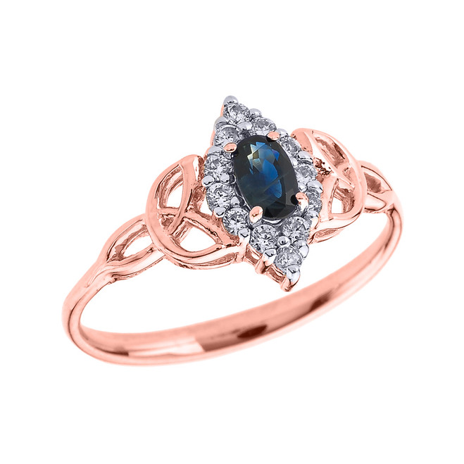 Rose Gold Diamond and Oval Sapphire Trinity Knot Proposal Ring