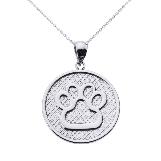 Sterling Silver Dog Paw Print Disc Pendant Necklace