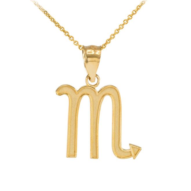 Gold Scorpio Zodiac Sign Pendant Necklace