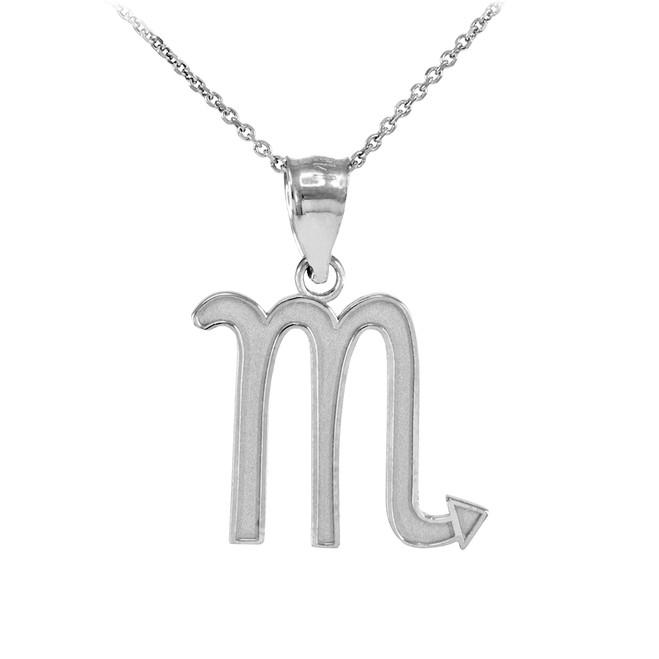 White Gold Scorpio Zodiac Sign Pendant Necklace