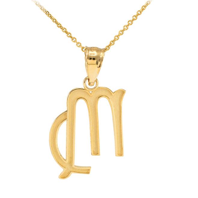 Gold Virgo Zodiac Sign Pendant Necklace