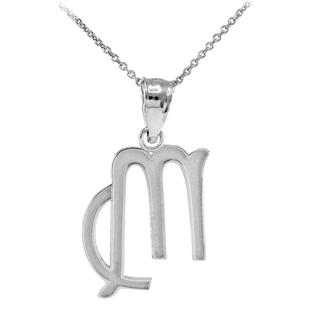 White Gold Virgo Zodiac Sign Pendant Necklace